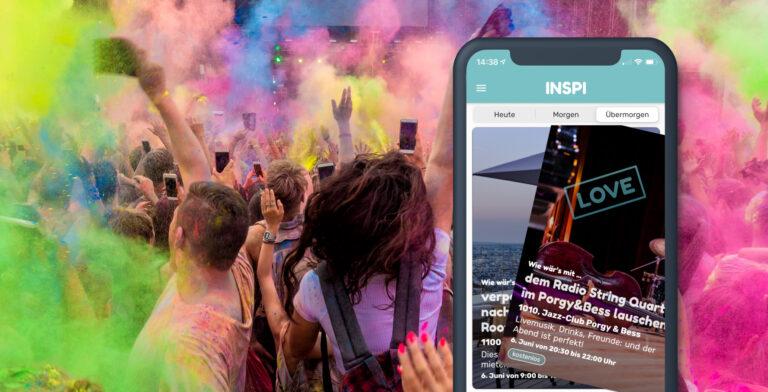 Menschengruppe, bunter Hintergrund, im Vordergrund ein abgebildetes Mobil mit der INSPI App für Wien