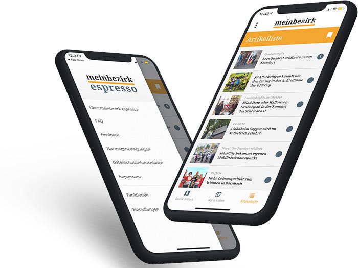 """2 Iphone - mit Bildschirm der """"meinbezirk"""" App, weisser Hintergrund"""